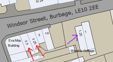 Map showing house number 3.25