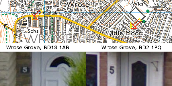 Map of two Wrose Groves